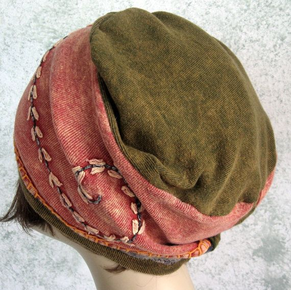 Womens Hat BOHO Style Colorful Hat Stone Wash by kalliedesigns