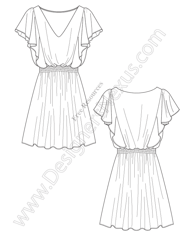 v67 draped dress vector fashion flat sketch free download in illustrator or