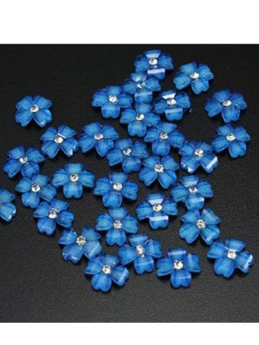 So Beauty 20pcs Blue Flowers 3D Rhinestones Nail Art Slices DIY Nail Decorations