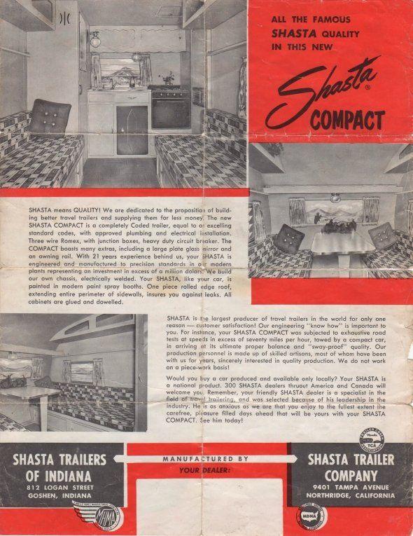 Original Shasta Compact Sales Flyer Back  CampingVintage