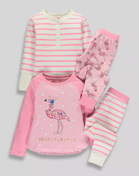 Girls 2 Pack Christmas Flamingo Pyjamas From £12 Matalan