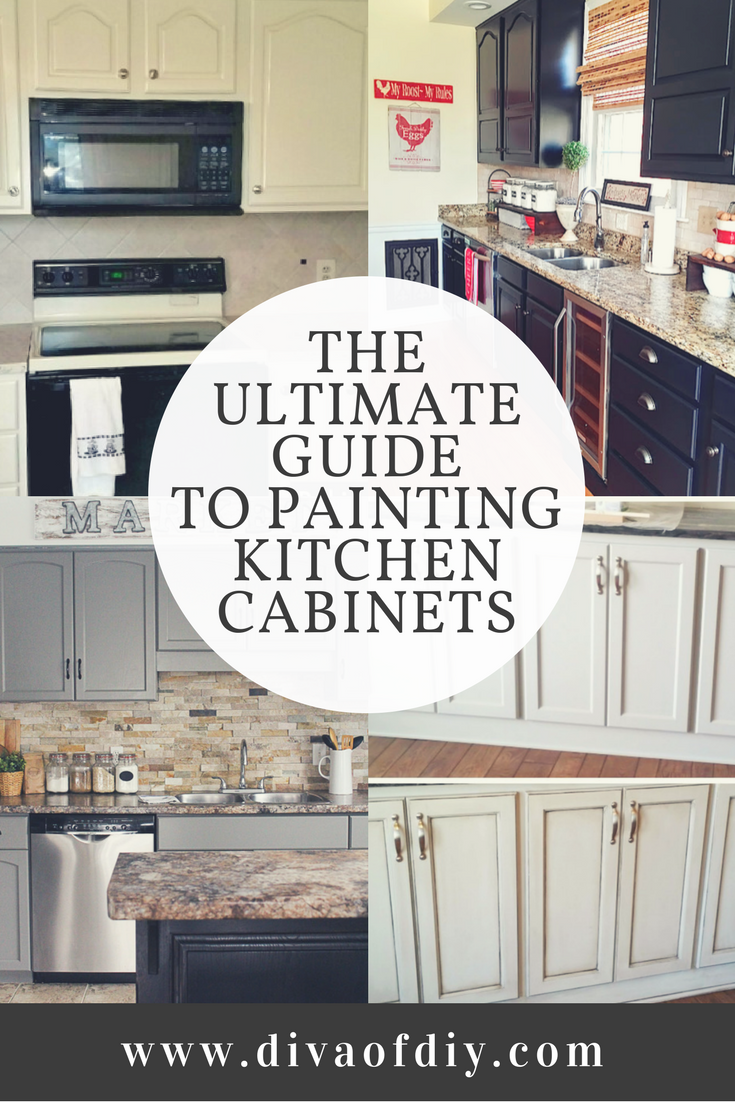 Painted kitchen cabinets can completely transform the look of your kitchen.  Get inspired with this ultimate guide to painting kitchen cabinets which includes different colors and step by step directions via @divaofdiy