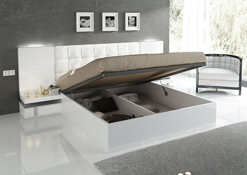 Bedrom Furniture Sets, Italy Fashion White Leather Beds,high Gloss White  Eco Paint Wood