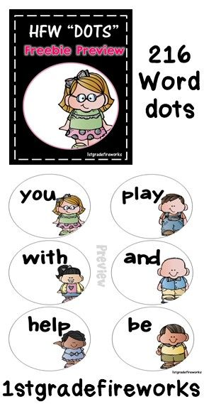 216 Sight Word DOTS! One word on each DOT. Use for Word Wall, Centers, Whole Class Daily Practice. Reading, Writing, Word Work.https://www.teacherspayteachers.com/Product/BTS-HFW-DOTS-2-2596295