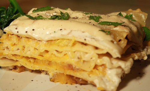vegan mofo day 8 roasted butternut squash and caramelized onion lasagna with cashew cream sauce cashew cream butternut squash and roasted butternut