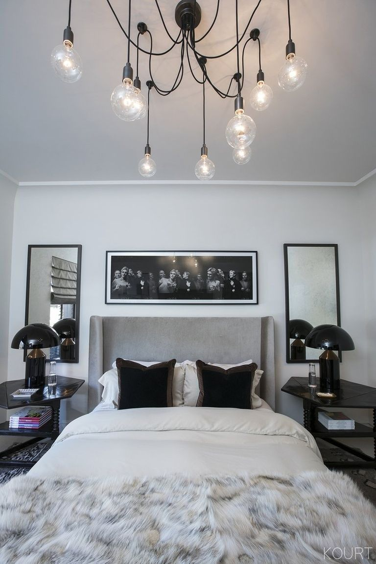 Kourtney kardashian 39 s guest bedroom grey headboard black - Home decor ideas bedroom ...