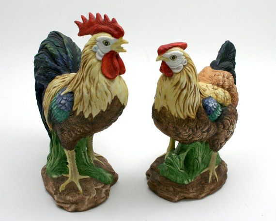 Vintage Lefton Hen And Rooster, Chickens, Farmhouse Kitchen Decor Style,  Painted Ceramic Figurines