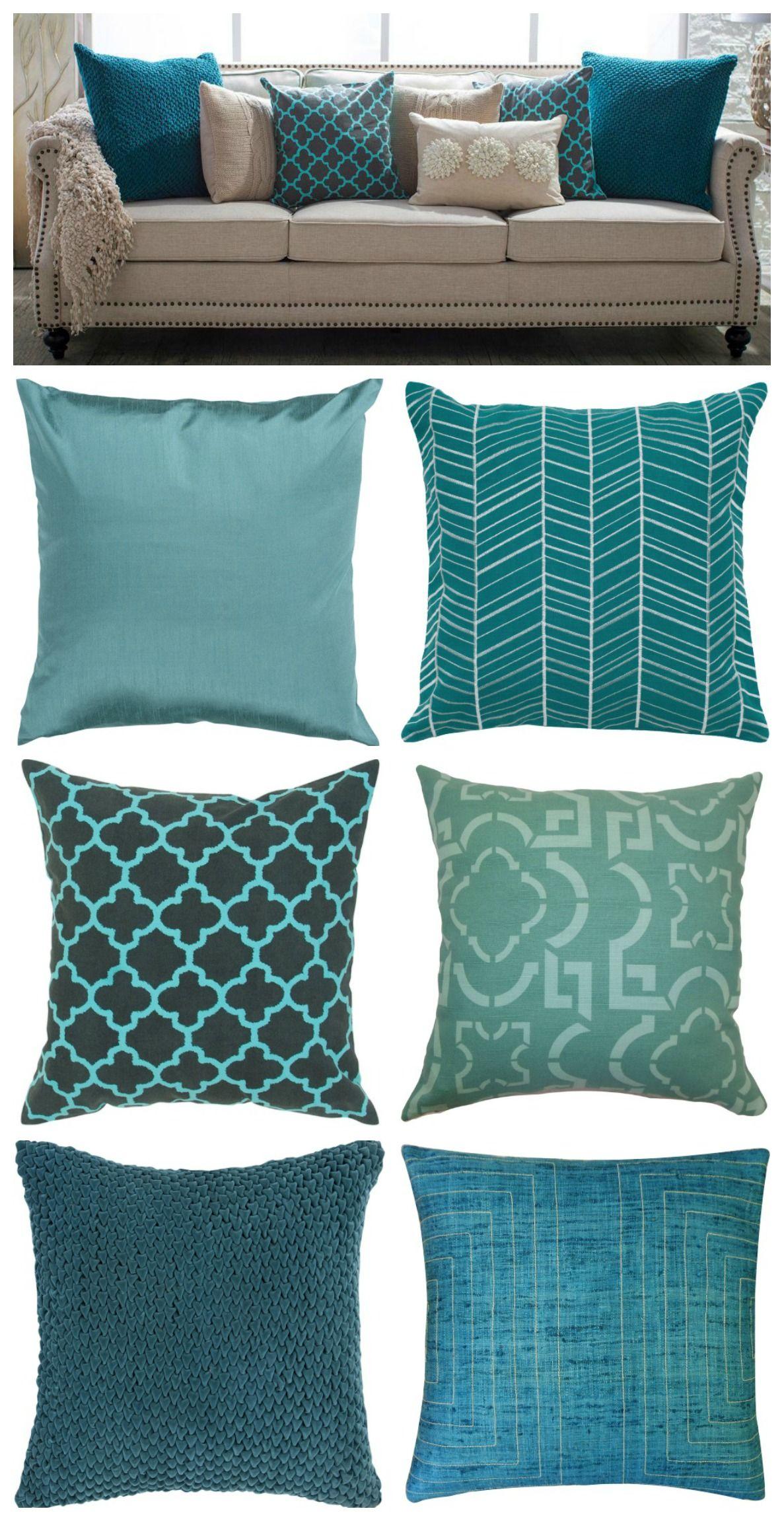 Teal pillows. | Home Decor | Living room decor pillows ...