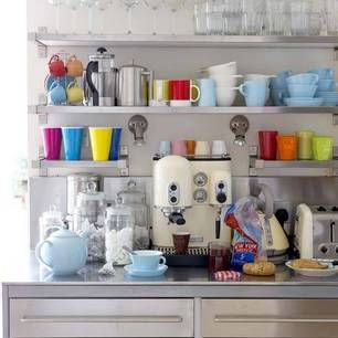 I wish when I put bunches of stuff on open shelves, it'd look cute and right and not just cluttered like I have no where else to put it (I don't). I'm gonna master this one day.