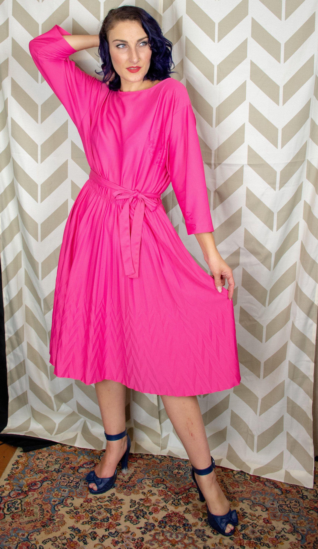 Pink dress shirt for women  s Pink A Line Dress  Chevron Crease  Disco Dress  s