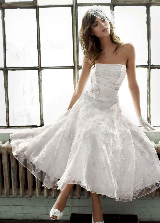 Short Printed Organza Gown With Floral Sash Tea Length Wedding Dress Short Wedding Dress Davids Bridal Wedding Dresses [ 1227 x 880 Pixel ]