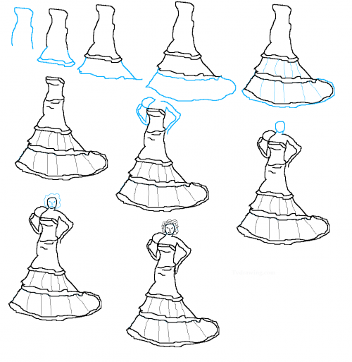 Image Detail For How To Draw Wedding Dresses Step By 500x513