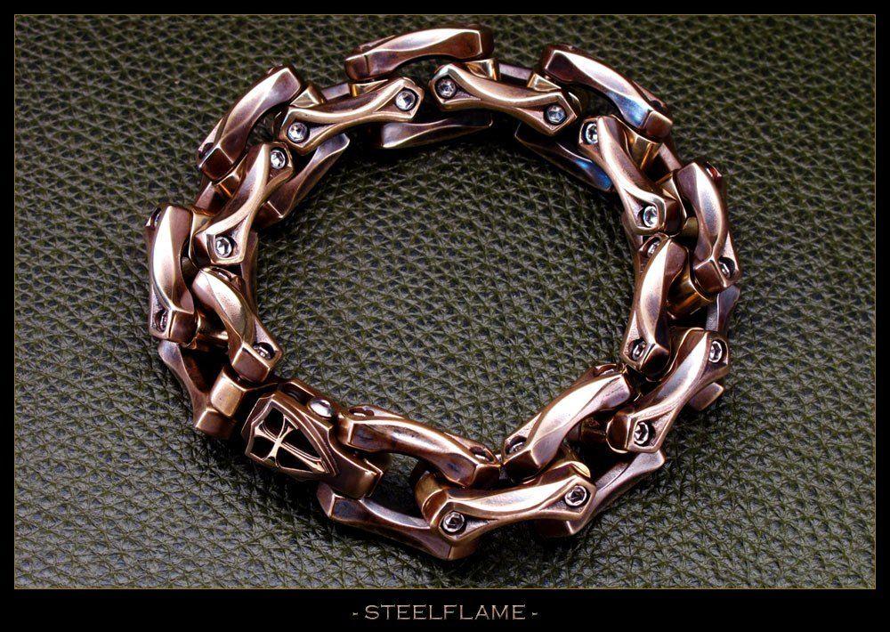 "STEEL FLAME ~ ""Axe Crusader"" Link Bracelet."