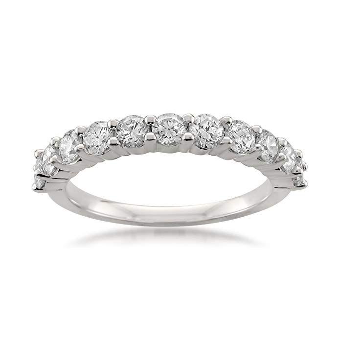 Platinum 11 Stone Round Diamond Bridal Wedding Band Ring 1 Cttw H I Vs2 Si1 Review