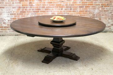 "80"" large round table with pedestal and lazy susan - farmhouse"