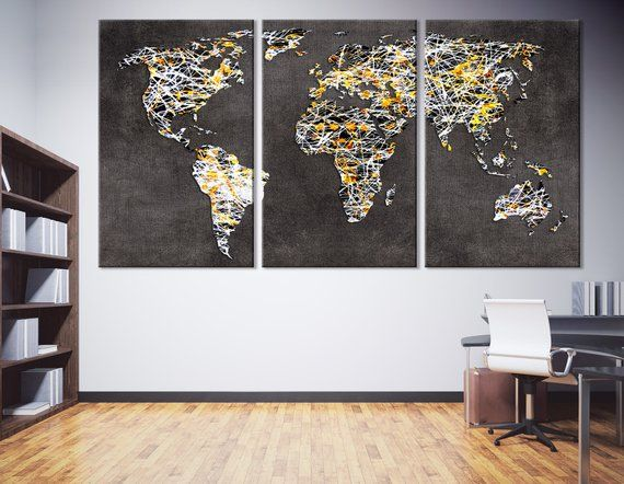 World Map Canvas Print | World Map Wall Art | Decorative World Map on
