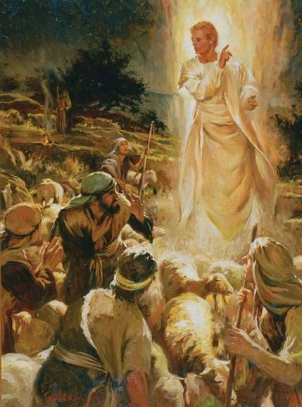 Luke 2:9-12 And an angel of the Lord suddenly stood before them, and the  glory of the Lord shone around them; and they… | A christmas story, Lds  art, Bible pictures