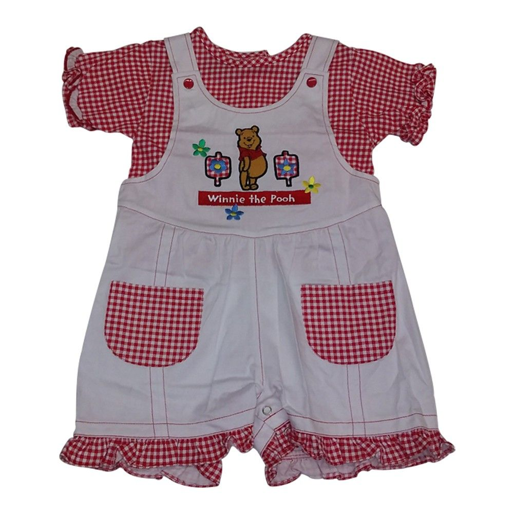 A cute overall outfit from American Character with a kid-friendly carton inspired design. The overall features an embroidery of Winnie The Pooh and two checkered pockets. The top has red checker pattern and buttons in back. Made from quality 100% cotton.