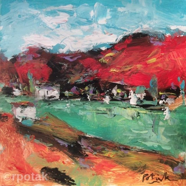 Beautiful Resort Cove Expressive lake cove harbor coast painting in red green orange palette knife art 10 x 10 in Russ Potak In 2018 - Lovely lake painting Unique