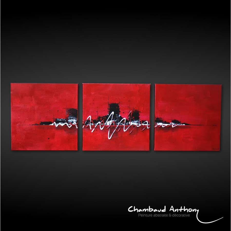 triptyque tableau rouge ville sur fond rouge peinture abstraite artiste peintre anthony. Black Bedroom Furniture Sets. Home Design Ideas