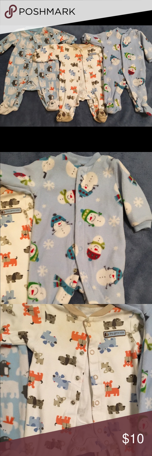 Warm footed pjs bundle, newborn-3 months Used but still in great condition. The middle pair has some slight discoloration at the top (see pic). If you don't want all 3, let me me know which ones you do want and I can reduce the price for you :) One Pieces Footies