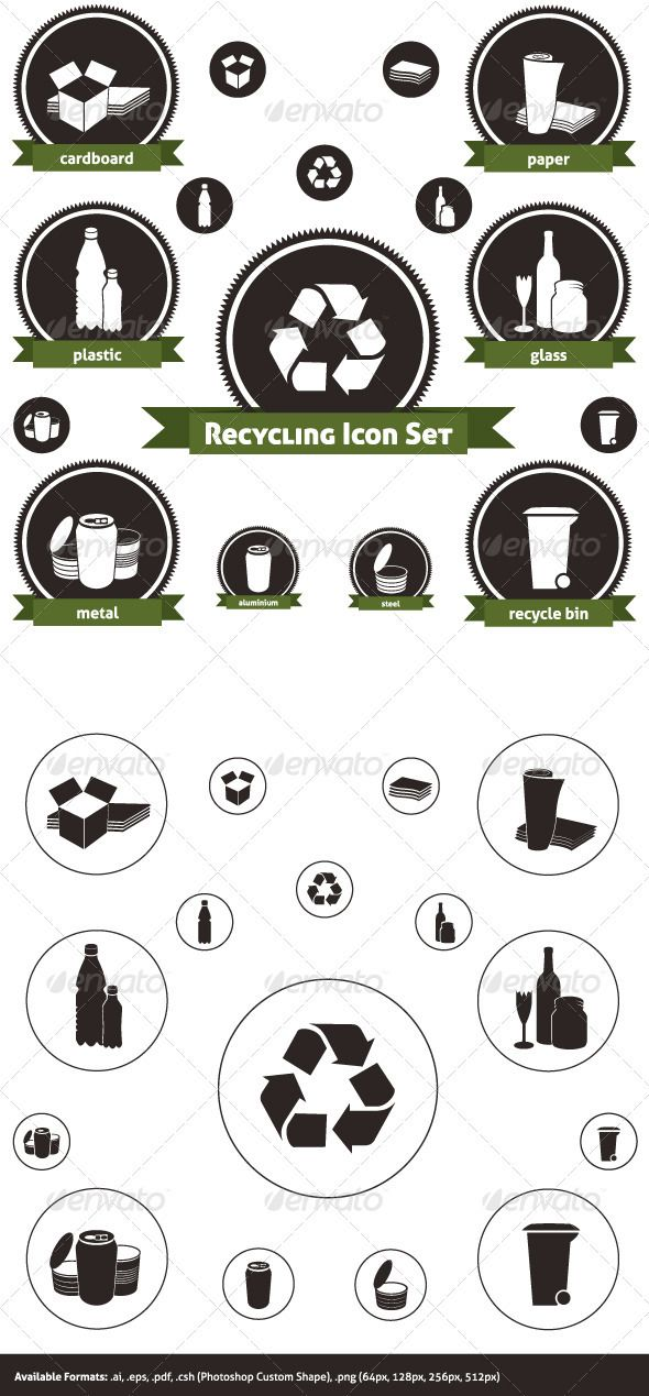 Recyclable Materials Graphicriver Icon Pack Of Recyclable