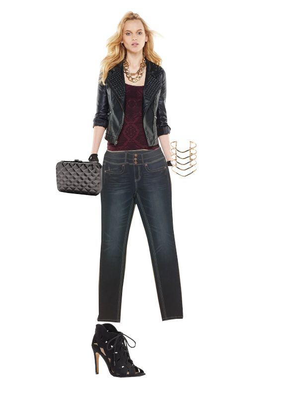 Want and edgy sexy look? Grab these high waisted Hydraulic Jeans with all the matching accessories from Kohl's and all the men in the room won't be able to take their eyes off you. #denim #jeans #highwaist #highwasited #dark #darkwash #accessories #details #black #burgundy #sexy #edgy #rocker #clutch #GirlsNightOut #hot #leather #leatherjacket #jacket #kohls #hydraulicjeans