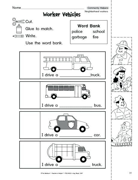 And Worksheets For And Kindergarten Community Helpers Worksheet 2nd
