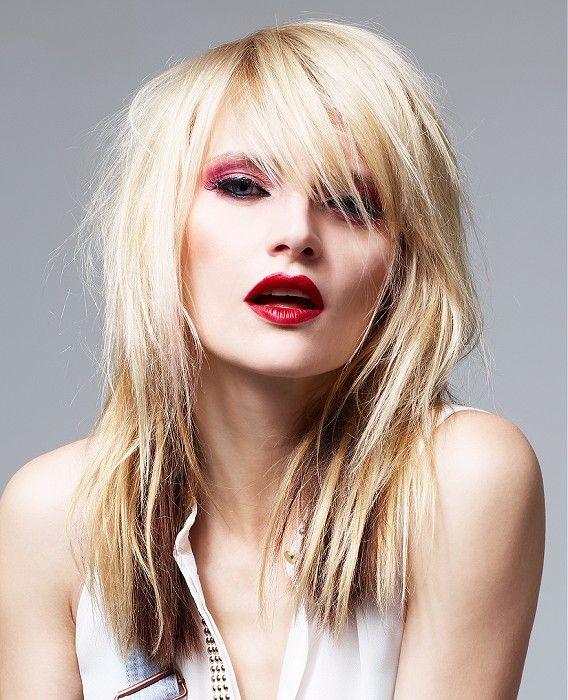 Long Blonde straight coloured multi-tonal poker-straight rock ...