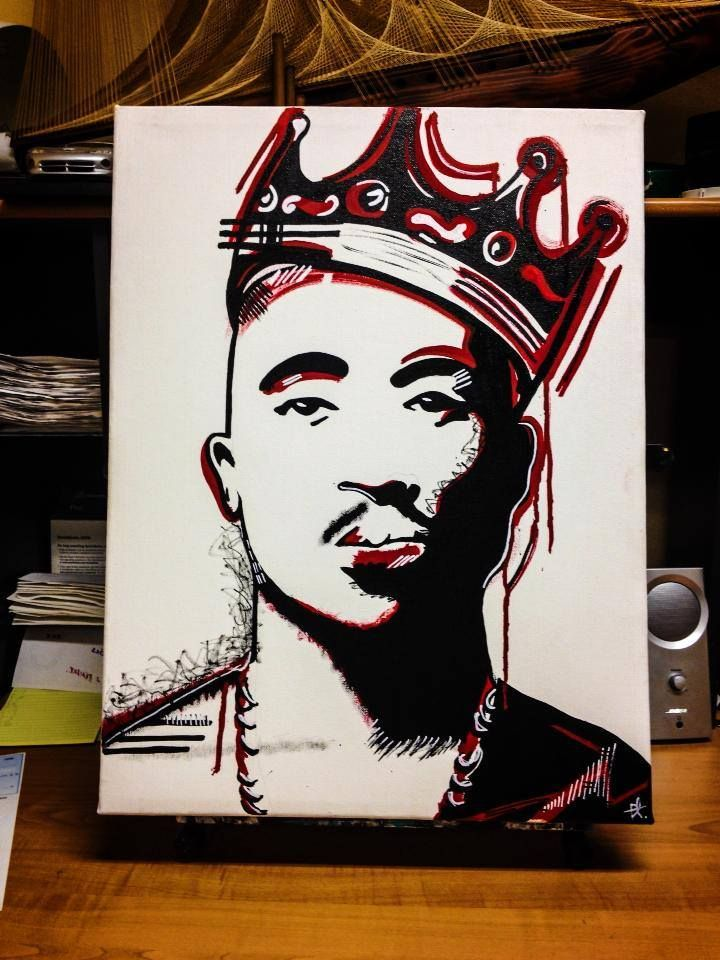 tupac art artist canvas paint painting tupac shakur 2pac rap forever crown biggie smalls stencilart street black drawings in art etc