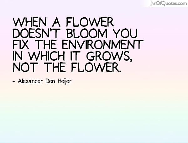 When a flower doesn t bloom you fix the environment in which