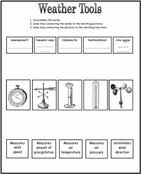 Weather Tools Worksheet With Images Weather Worksheets