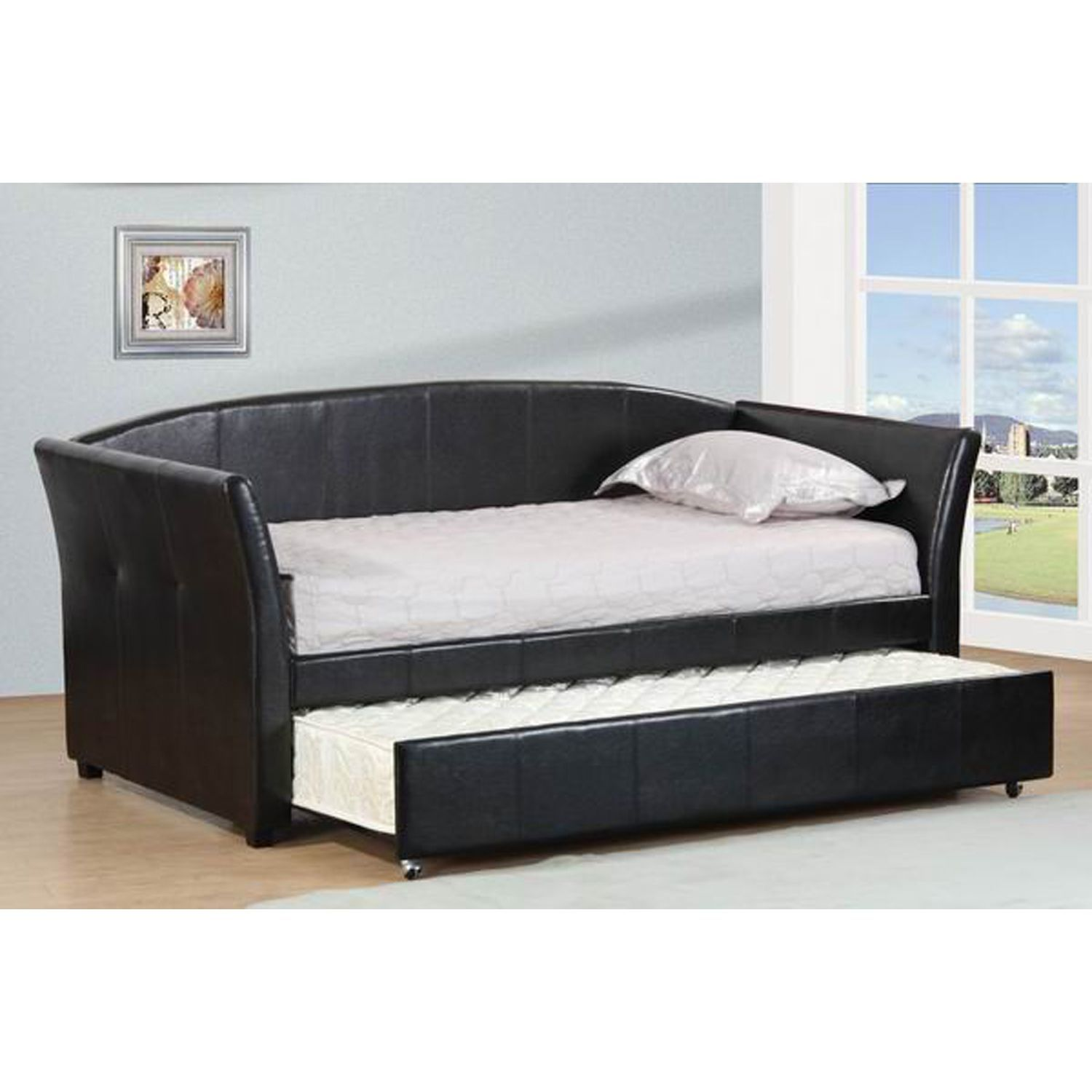 espresso leatherette twin daybed with twin trundle mattress covers