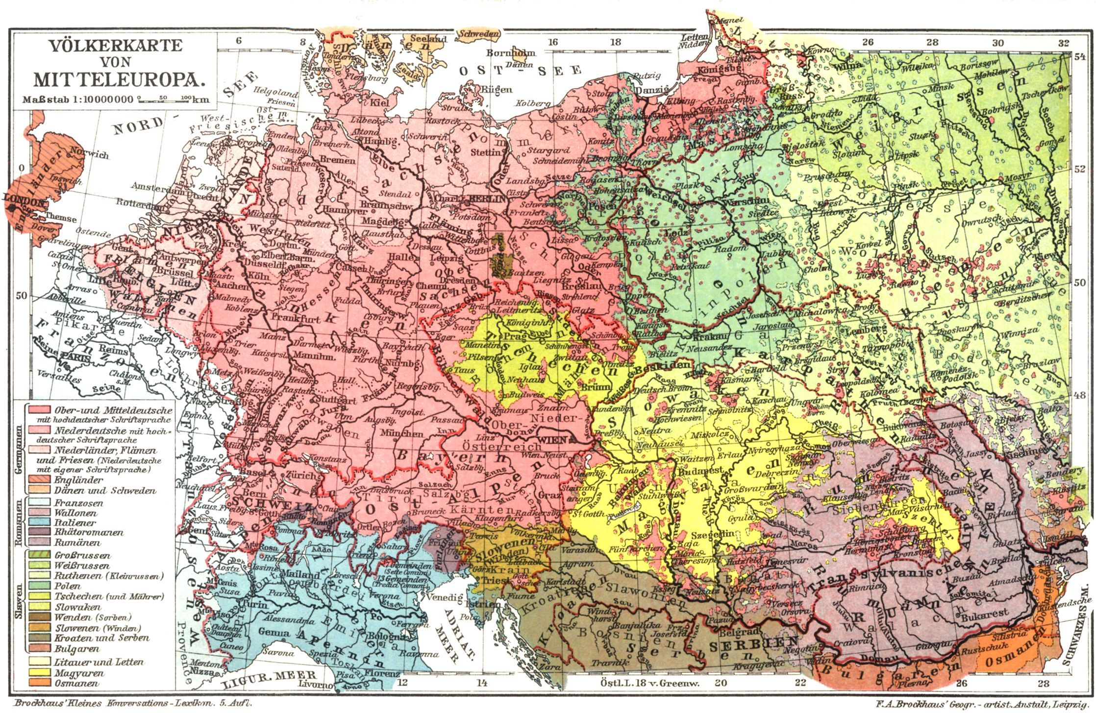 an old Map of Mitteleuropa there are no so many germans in Poland