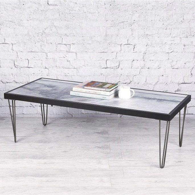Hobbitholeco Grey Black Wood 49 5 x 21 5 Beach Scene Coffee Table