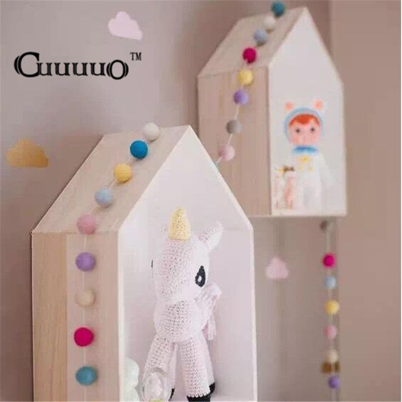 Decorative Key Box For The Wall 2Pcslot Ins Nordic Style Wall Hanging Decor Wooden House Key Box