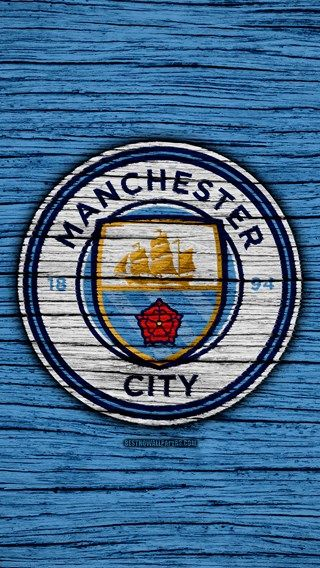 Manchester City, 4k, Premier League, logo, England, wooden ...