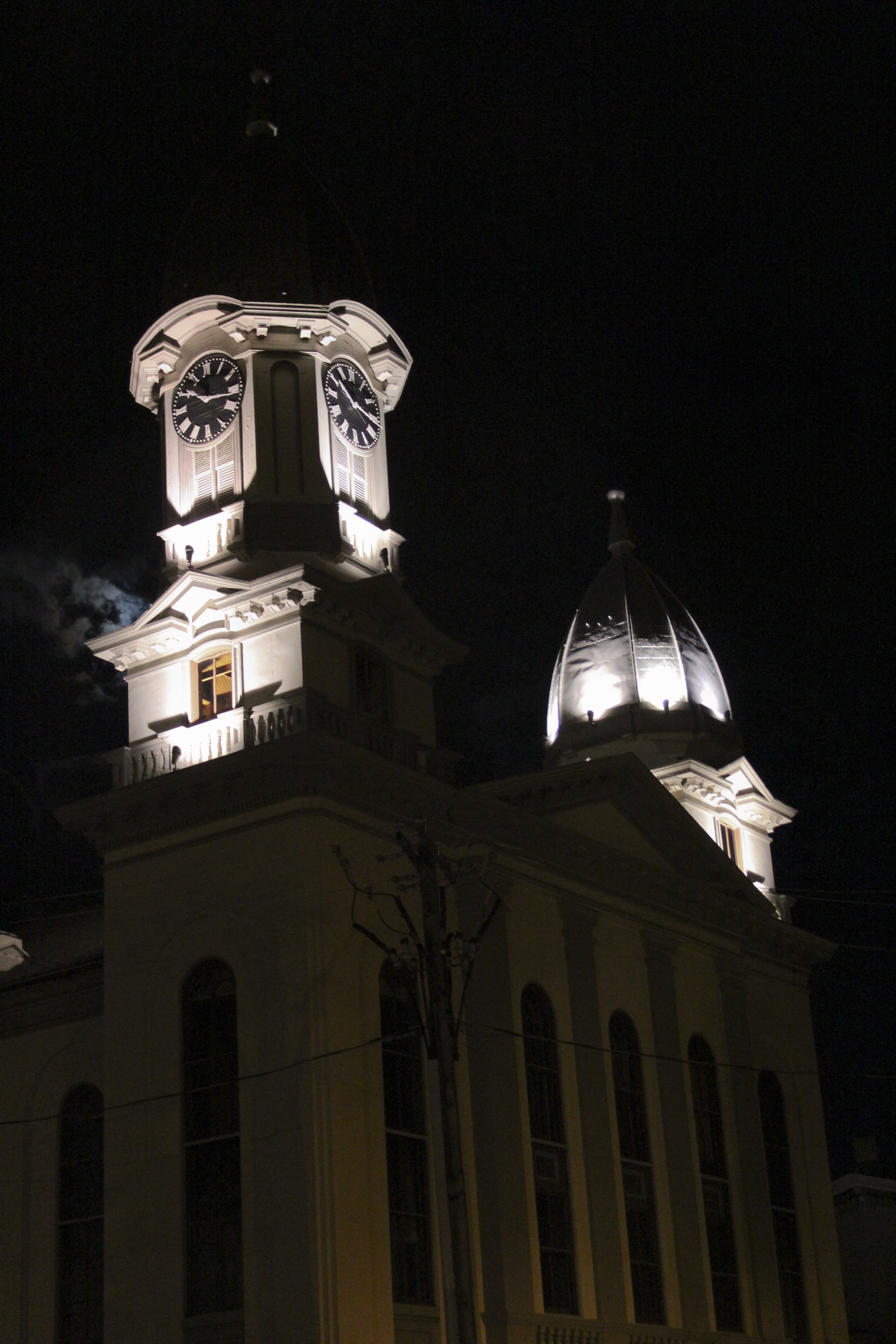 Courthouse at night.