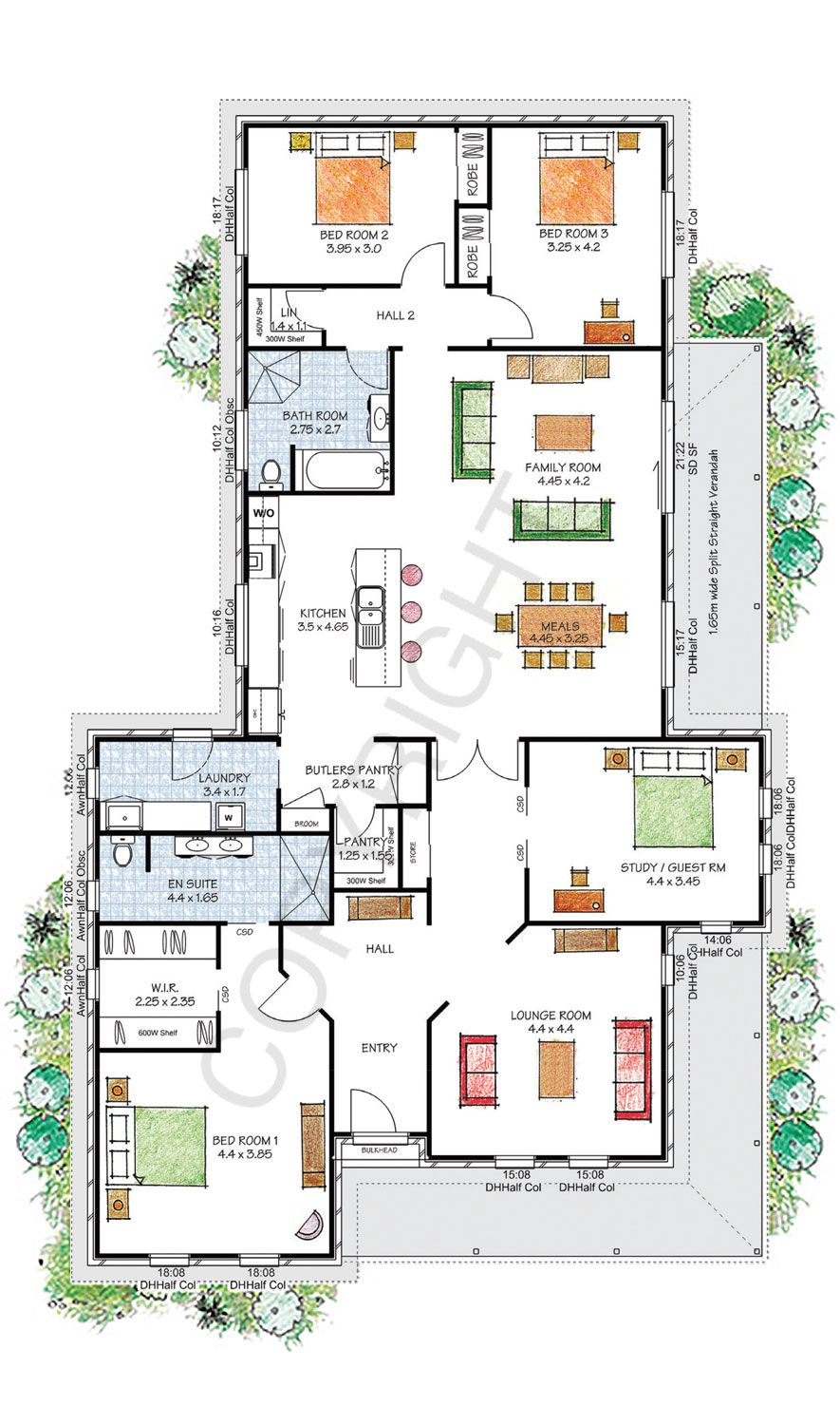4 Bed Study Great Ensuite And Wip Have To Build A Granny Flat Garage 252sqm 148000 Full Kit Floor Plans Kit Homes House Plans