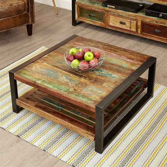 London Urban Chic Square Wooden Coffee Table With Undershelf   Furniture in Fashion