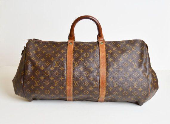 60s 70s Louis Vuitton Monogram Canvas Duffle Bag Ooak Reconstructed Canvas Duffle Bag Louis Vuitton Louis Vuitton Monogram