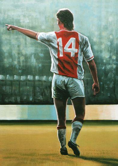 Johan Cruijff Nr 14 schilderij