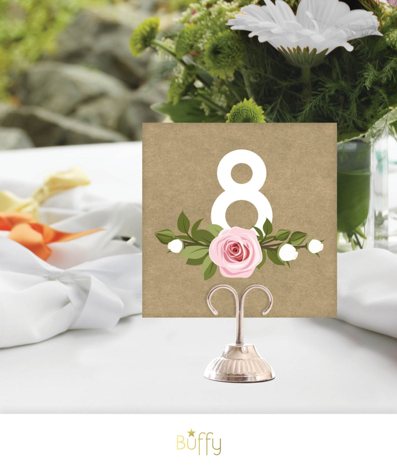 15 On Etsy Wedding Table Number Signs 1 24 Brown Craft