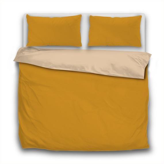 Mustard Duvet Set+Pillow Cases Quilt Cover Bedding In Single Double King Sizes