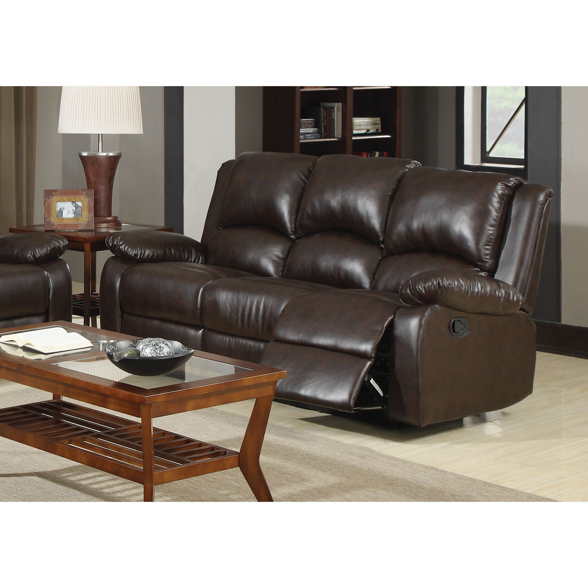 Coaster pany Brown Bonded Leather Recliner Sofa Motion