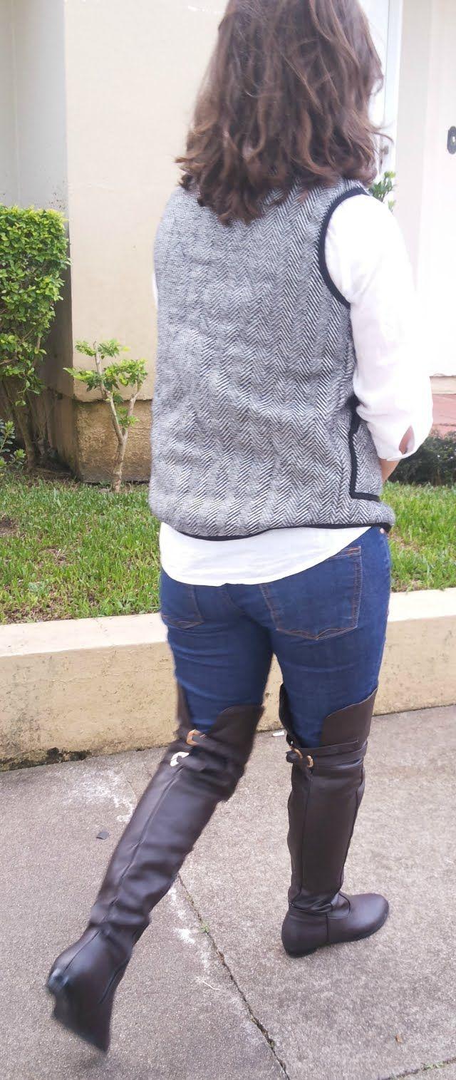 FEMINA - Modéstia e elegância: Colete xadrez + botas over the knee