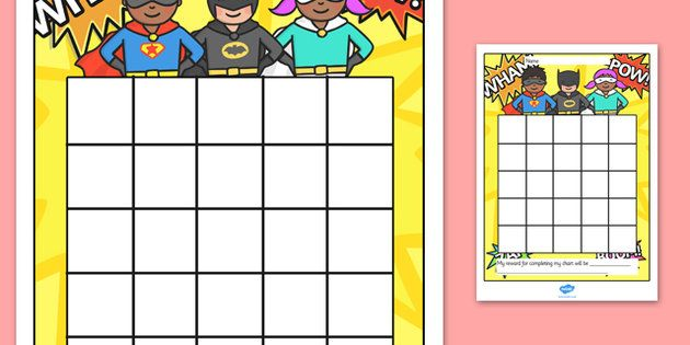 Blank Calendar Stamp : Superhero sticker stamp reward chart