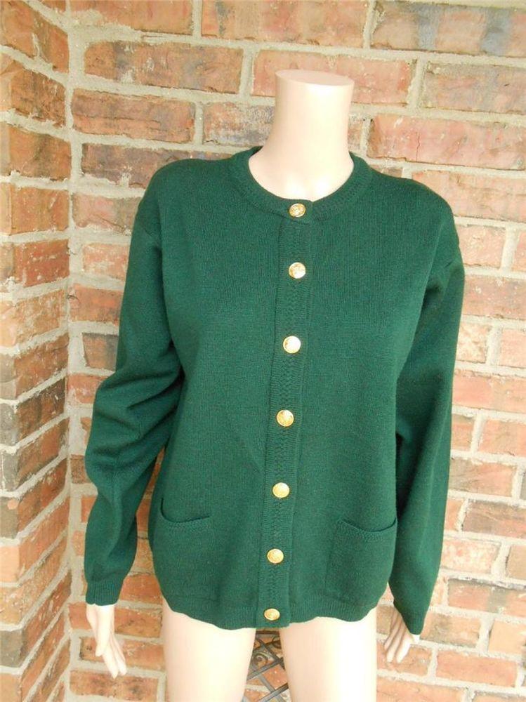 TALBOTS 100% Merino Wool Cardigan Size L Women Sweater Top Pockets ...