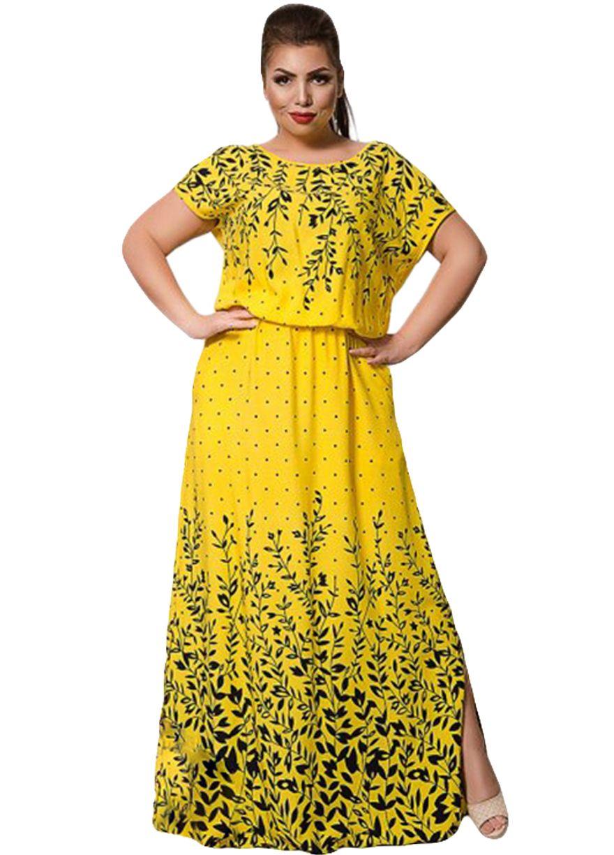 Floral Print Short Sleeve Big Size La s Maxi Dress Plus size