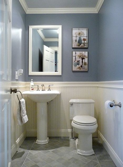 Blue and white Victorian bathroom with wainscoting ...